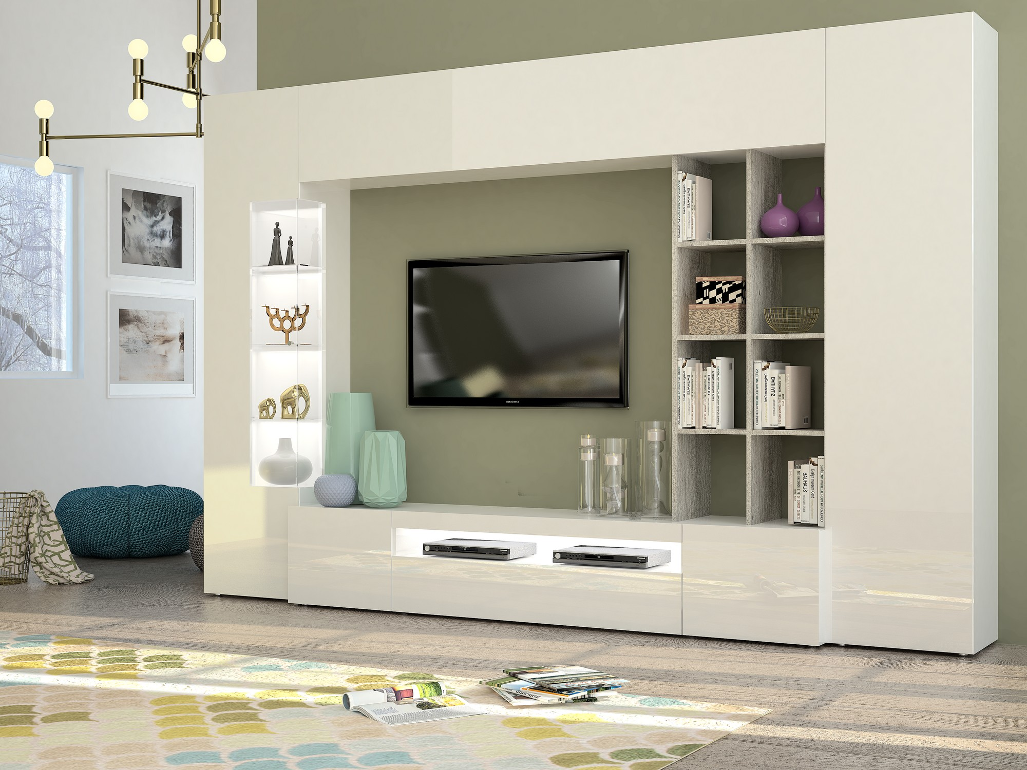 490326 wall unit tecnos italy for Gautier meuble tv