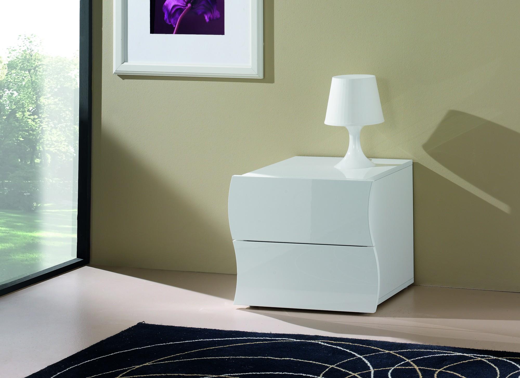 Chambre Complète Design Blanc  Noir Laqué  Novomeuble