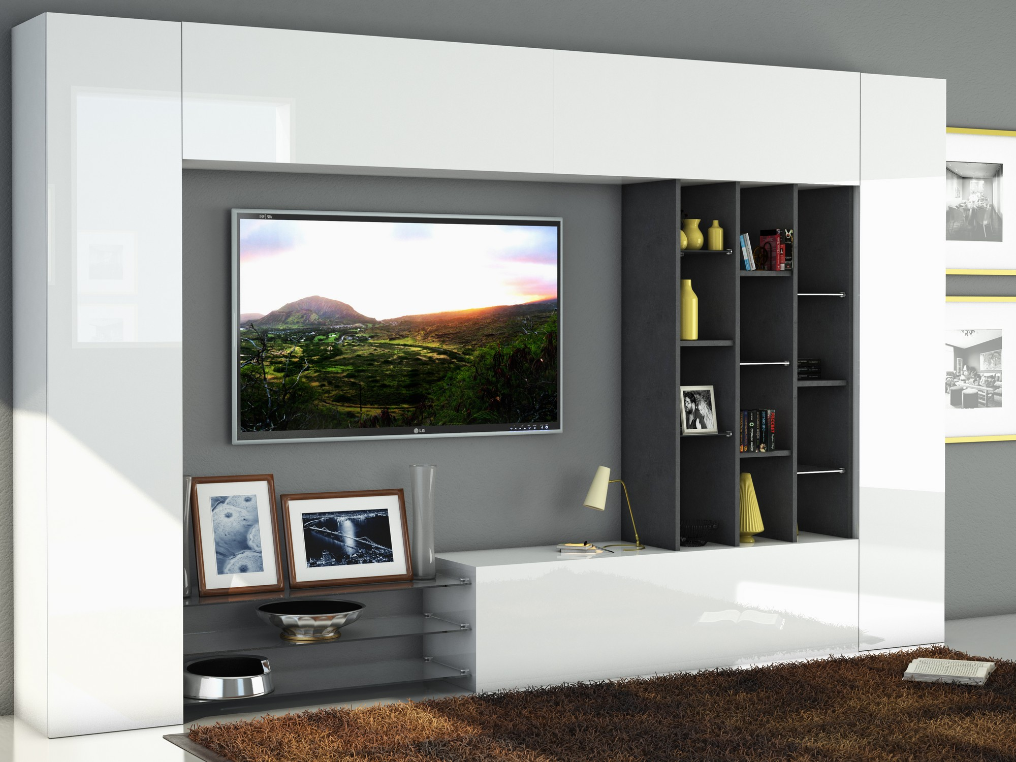 396230 wall unit tecnos italy for Meuble sejour design